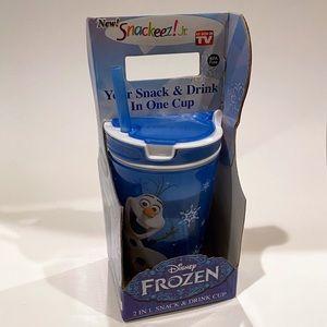 NEW Snackeez Jr. Frozen Olaf Snack & Drink Cup